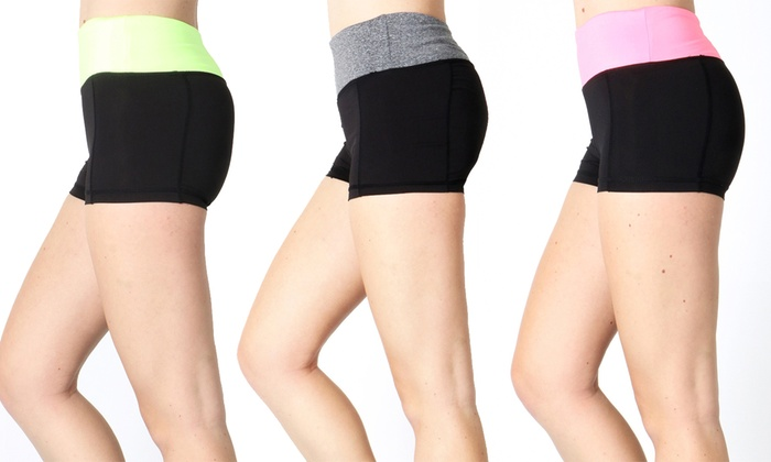 Women's Active Color-Block Compression Shorts: Women's Active Color-Block Compression Shorts