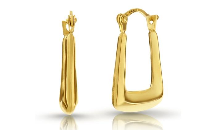 10k Solid Gold Square Off Hoop Earrings
