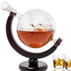 World Globe Decanter with Antique Glass Ship