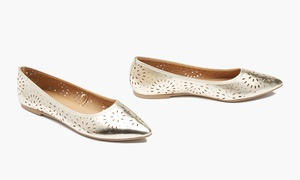 Sociology Women's Pointed-Toe Flats with Cutouts (Sizes 6 & 7)