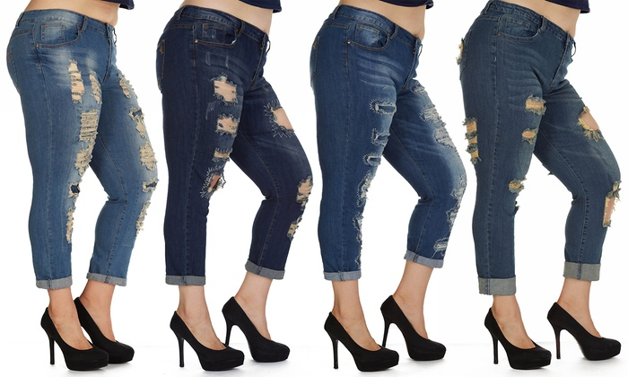 V.I.P. Jeans Women's Plus Size Distressed Skinny Jeans