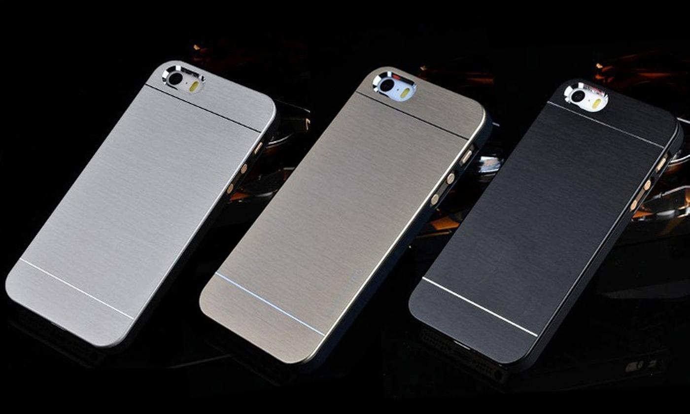 One or Two Brushed Aluminium Hybrid Cases for iPhone