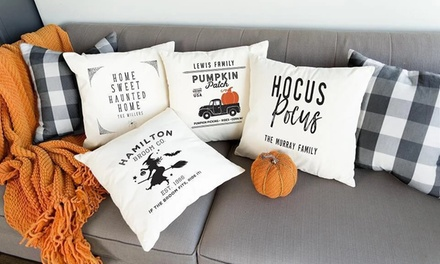 1, 2, 3, 5, or 10 Personalized Halloween Throw-Pillow Covers from Qualtry (Up to 84% Off)