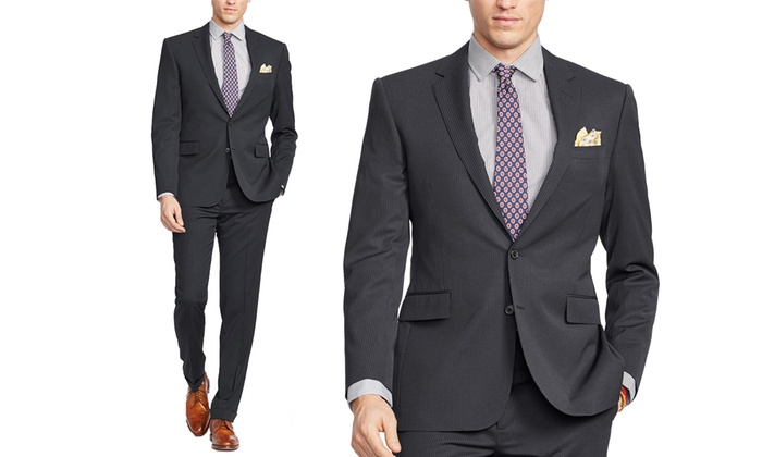 Verno Men's Classic or Slim Fit Pinstripe Suits (2-Piece): Verno Men's ...