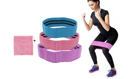 ThreePiece Resistance Booty Bands Set with Pouch: One $29.95 or Two $49.95