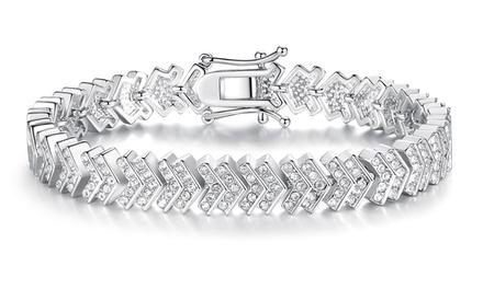Chevron armband met zirkoniasteen