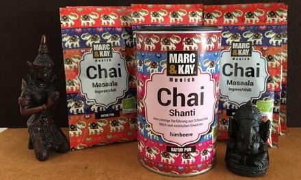 """250 g Bio Chai-Latte """"Masaala"""" mit Ingwer-Chili + 250 g Bio Chai Latte """"Shanti"""" Himbeere inkl. Versand (59% sparen*)"""