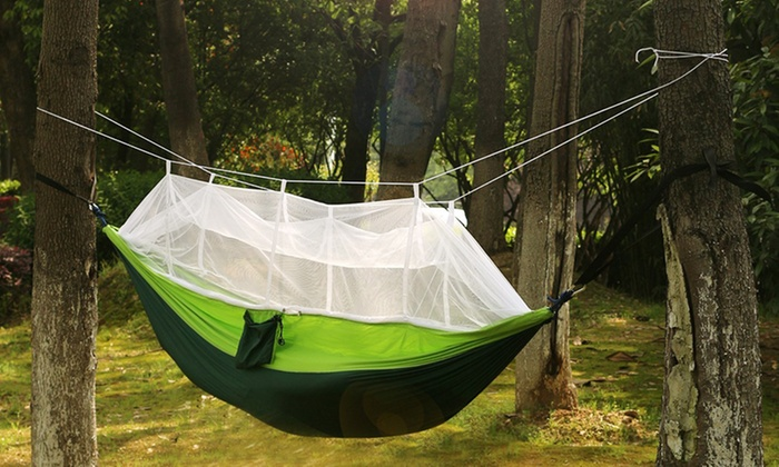 2-Person Parachute Hammock with Built-in Mosquito Net and Carry Pouch