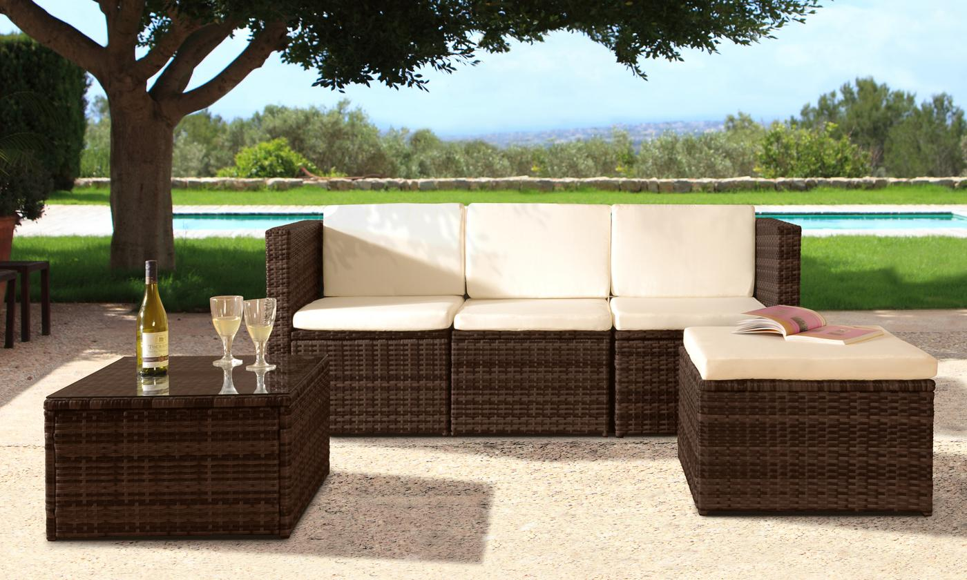 Mustique Rattan-Effect Sofa Set with Cushions and Optional Protective Cover (£289.99)