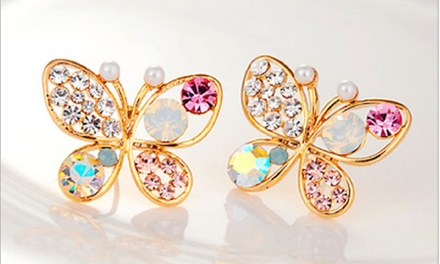 Crystal Butterfly Stud Earrings in 18K Yellow Gold Plating