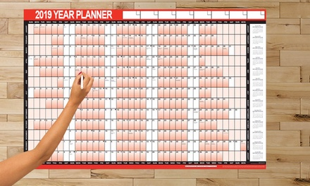 One, Two or Three Laminated 2019 Wall Planners with Pen and Sticker Dots