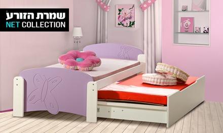 שמרת הזורע: מיטת ילדים ונוער משולבות עץ מלא וכוללות מיטת חבר, 2 מזרנים אורתופדים, ארגז מצעים ענק ומעקה בטיחות, ב-2 דגמים