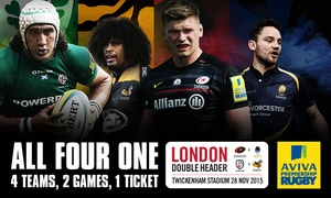Premiership Rugby: Premiership Rugby: London Double Header Child (from £12) and Adult (from £26) Ticket at Twickenham (No Booking Fees)