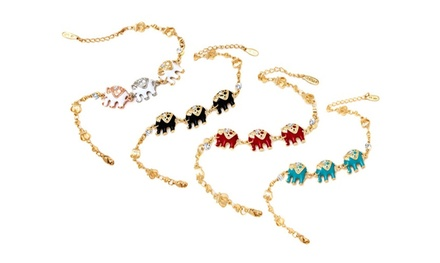 Gold Enamel Elephant Bracelet