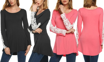 Women's LongSleeved Lace Detail Tunic: One $16 or Two $26