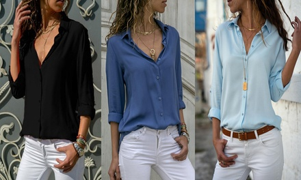Chiffon Button Up Shirt: One $15 or Two $25