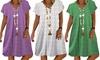 Short Sleeve V-Neck Heart-Shaped Print Dress