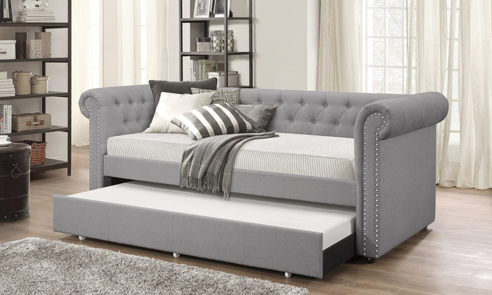 Baxton Studio Fabric Upholstered Daybed With Trundle Bed