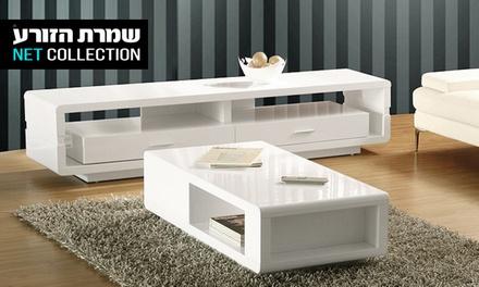 שמרת הזורע: סט מזנון ושולחן, עם עיצוב מודרני, פינות מעוגלות ובטיחותיות ומגוון אפשרויות אחסון, ב-3150 ₪ בלבד. אחריות לשנה