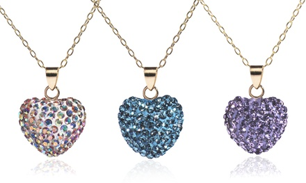 14K Solid Gold Pave Crystal Heart Pendant made with Swarovski Elements