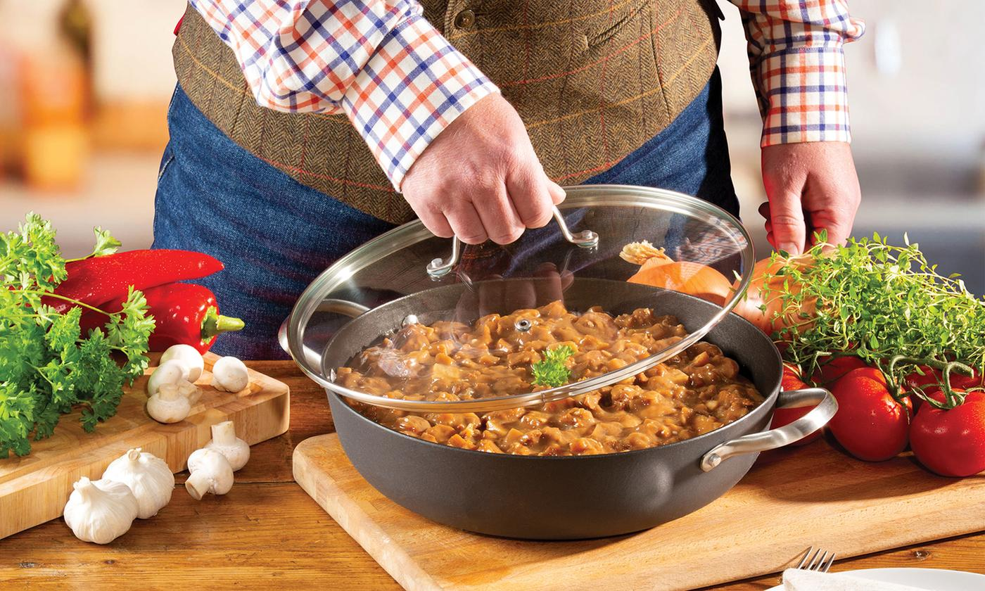 Hairy Bikers 30cm Lightweight Cast Iron Shallow Casserole Dish With Lid