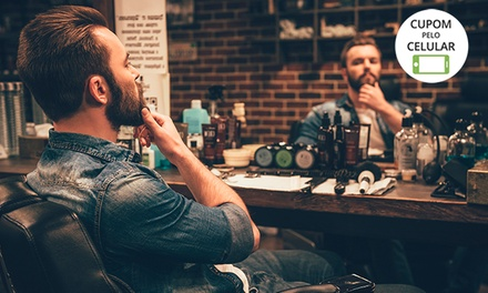 Corte de cabelo masculino estilizado (opção com design de barba) no LS Studio – Paraíso