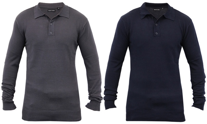 Mens Knitted Polo Shirt by Brave Soul Long Sleeved