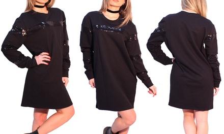 66c62c3dc577 Maxi maglia nera con righe da donna disponibile in varie taglie ...
