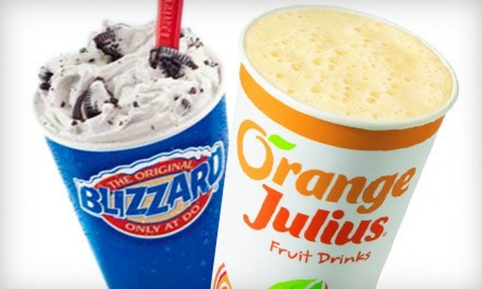 Dairy Queen / Orange Julius - St. Johns: Blizzards or Orange Julius Treats at Dairy Queen / Orange Julius (Up to 54% Off). Two Options Available.