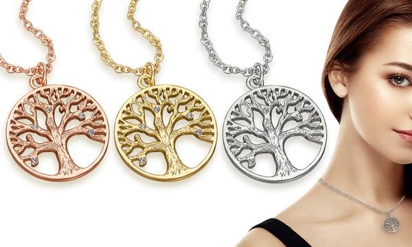 Jusqu'à 3 colliers arbre de vie The Gemseller, plaqué or 18 carats et ornés  de cristaux Swarovski®