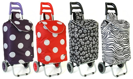 Printed Wheeled Shopping Trolley for £9.95