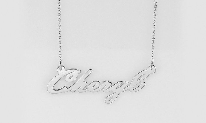 Custom sterling silver plated name pendant groupon custom sterling silver plated name pendant aloadofball Choice Image