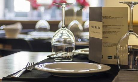 Menú para dos con entrante, principal, postre y botella de vino o bebida por 49,95 € en Ferrara Bar Gastronomía