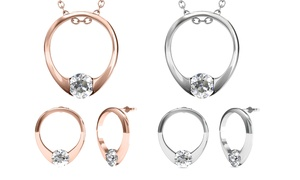 Ensemble pendentif boucles d'oreilles ornés de cristaux Swarovski®