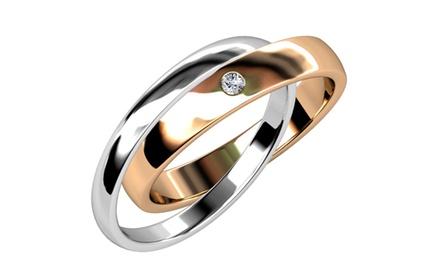 """Damen-Doppelring """"True Love"""", verziert mit Kristallen von Swarovski®, in Silber-Roségold und in der Größe nach Wahl : 8,95 €"""