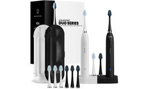 AquaSonic Dual Ultrasonic Toothbrushes with 10 Brush Heads & 2 Cases