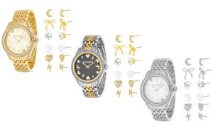 Steve Madden Women's Crystal Celestial Design Watch & 6-Pc Earring Set