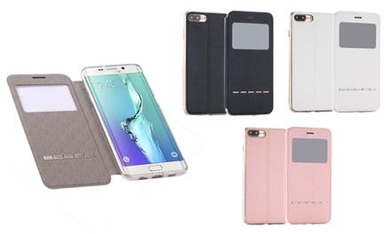 Fundas con tapa giratoria para Samsung y iPhone disponible en diferentes colores