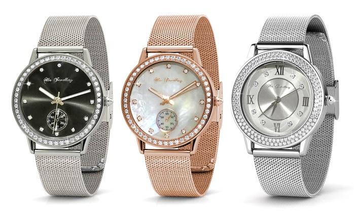 Montres ornées de cristaux Swarovski® de la marque Her Jewellery, maille milanaise dès 19,90€, livraison offerte