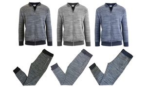Men's Marled Tech Fleece Stretch Sweater Jacket and Joggers Set