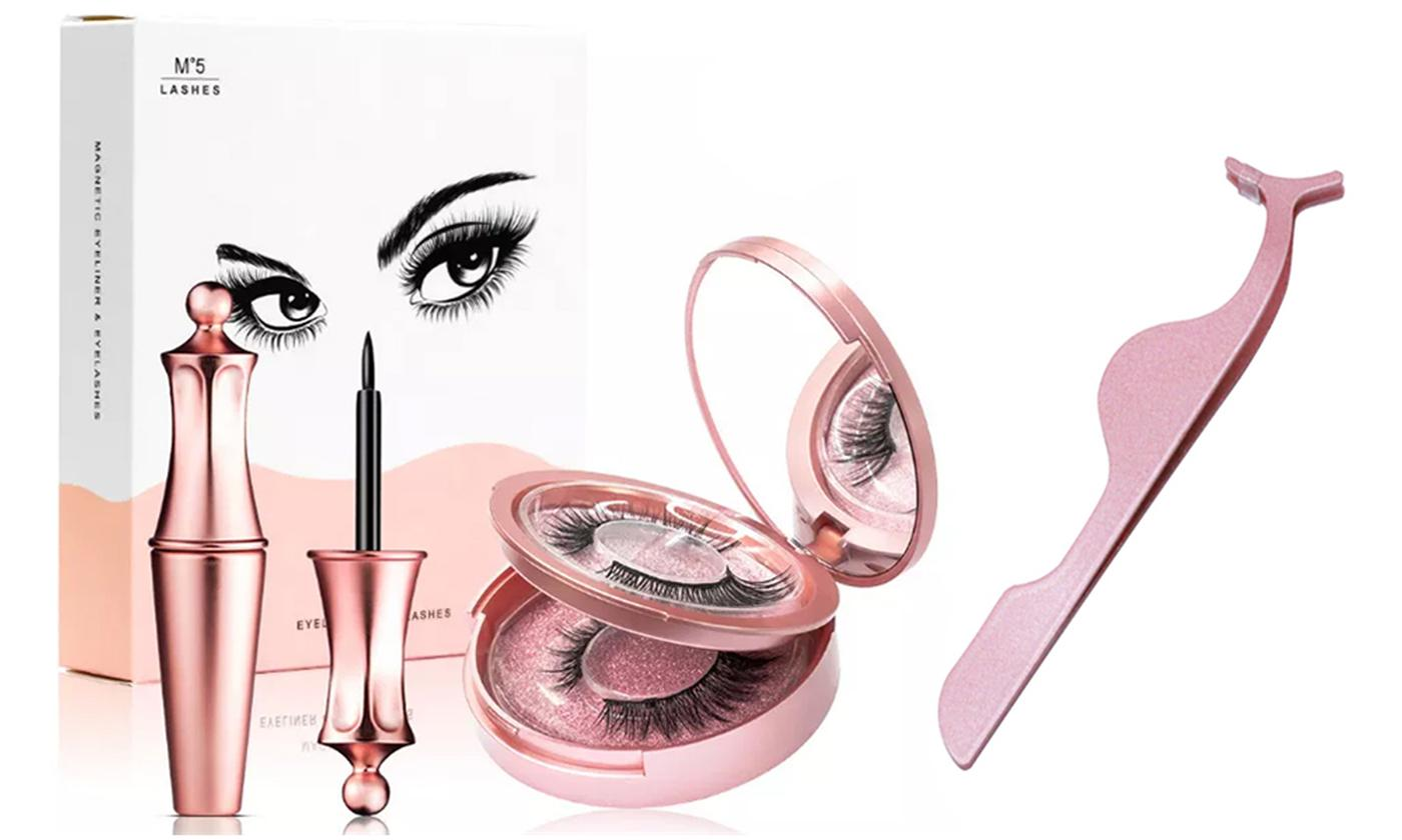 One or Two Magnetic False Eyelashes Sets with Eyeliner and Tweezers