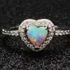 Lab-Created Fire Opal Heart Ring in 18K White Gold Plating