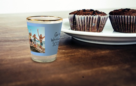 One Custom Photo Gold-Rim Shot Glass from MailPix (68% Off)