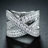 Cubic Zirconia Crossover Ring by Barzel