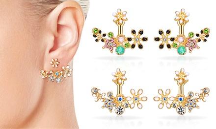 1x oder 2x dezente Ohrringe in Schwarz oder Weiß mit Kristallen von Swarovski® (bis zu 58% sparen*)