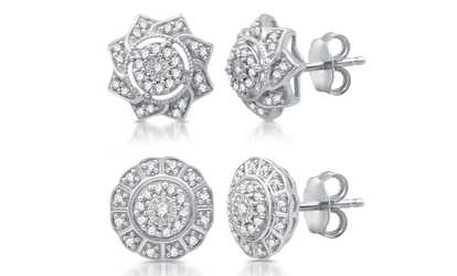 Groupon 1 4 Cttw Diamond Stud Earrings In Sterling Silver By Decarat
