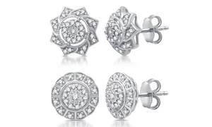 1/4 CTTW Diamond Stud Earrings in Sterling Silver By DeCarat