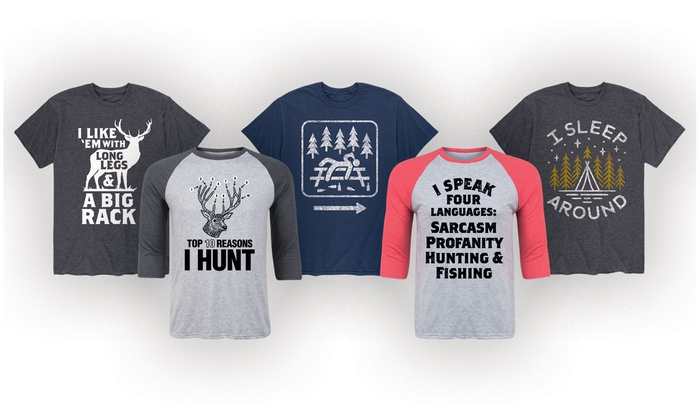 94d06ea91 Men's Funny Hunting and Camping T-Shirts. Extended Sizes Available.