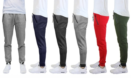 Men's Slim Fit Solid & Marled Tech Fleece Joggers with Zippered Pockets