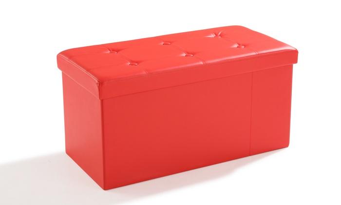 pouf pliant de rangement avec tiroirs en simili cuir groupon shopping. Black Bedroom Furniture Sets. Home Design Ideas